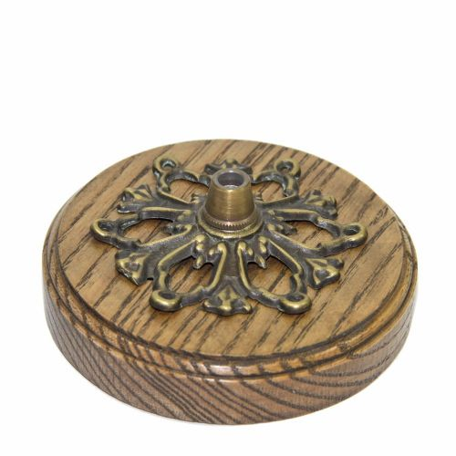 105mm Diameter Custom Made Hardwood Oak Ceiling Rose c/w Solid Brass Cordgrip Cover